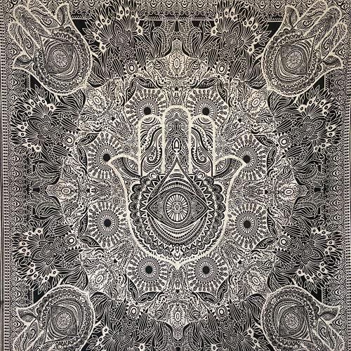 MOMOMUS Tapiz Mandala - 100% Algodón, Grande, Multiuso - Pareo/Toalla de Playa Gigante - Alfombra/Manta Antiarena XXL - Blanco y Negro ⭐