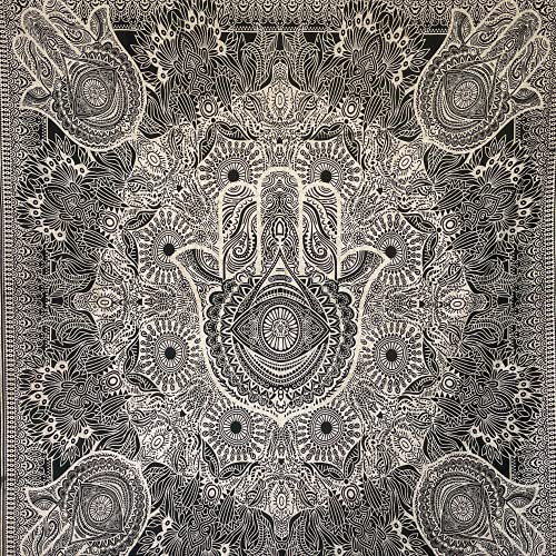 MOMOMUS Tapiz Mandala - 100% Algodón, Grande, Multiuso - Pareo/Toalla de Playa Gigante - Alfombra/Manta Antiarena XXL - Blanco y Negro