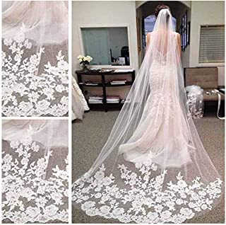 CanB Wedding Veil Bridal Cathedral Veil Flower Lace Veil 1 Tier White Veil with Comb for Brides