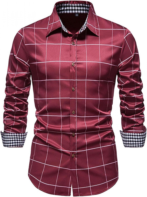 Huangse Men's Casual Dress Shirt Slim Fit Button Down Plaid Turn Down Collar Shirt Classic No-Iron Shirts