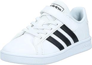 حذاء رياضي للتنس جلد صناعي بخطوط جانبية مختلفة اللون وشعار خلفي بشريط فيلكرو للاطفال من اديداس Grand Court - ابيض Ftwr، 29