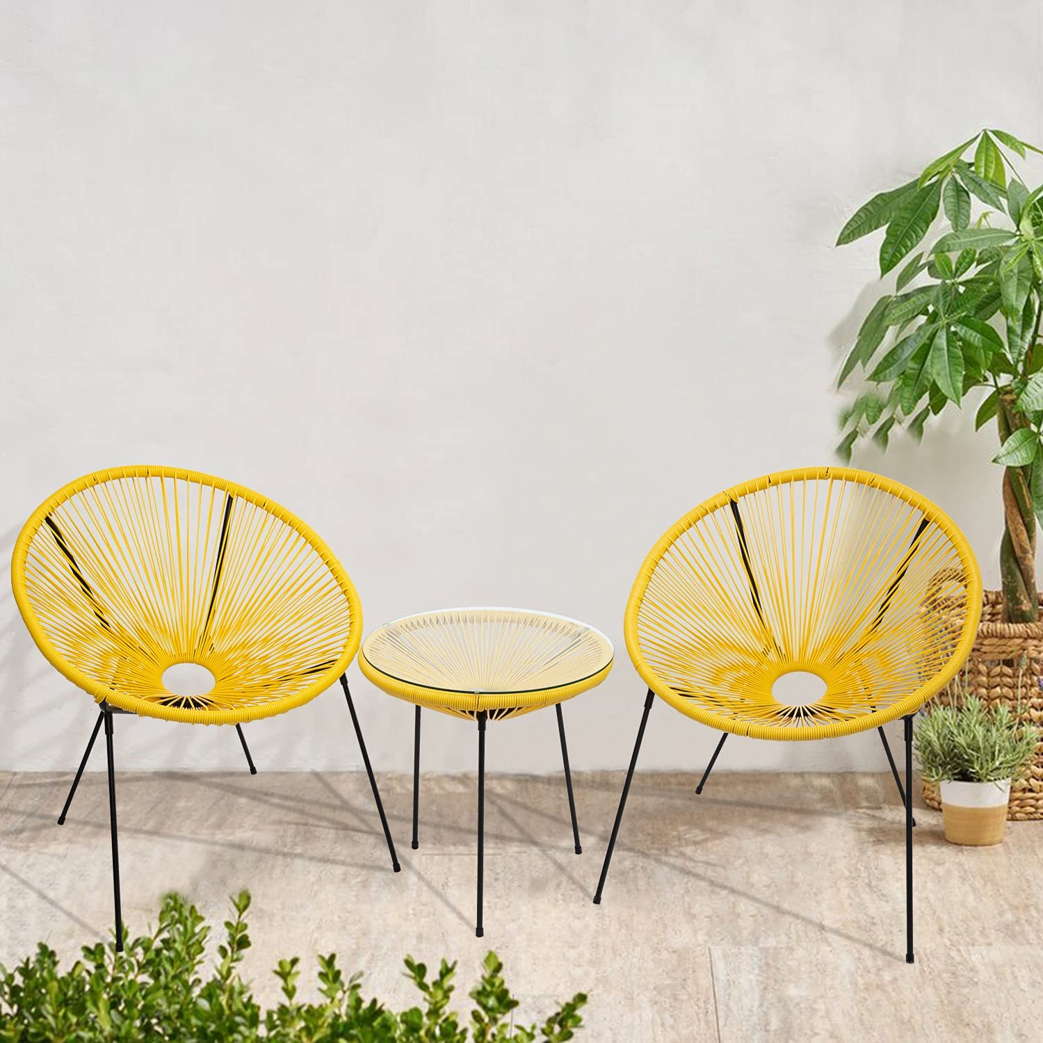 3-Piece Outdoor Acapulco Chair Set All-Weather quality assurance Max 72% OFF Plastic P Rope w