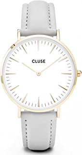 La Bohème Gold White Grey CL18414 Women's Watch 38mm Leather Strap Minimalistic Design Casual Dress Japanese Quartz Elegant Timepiece
