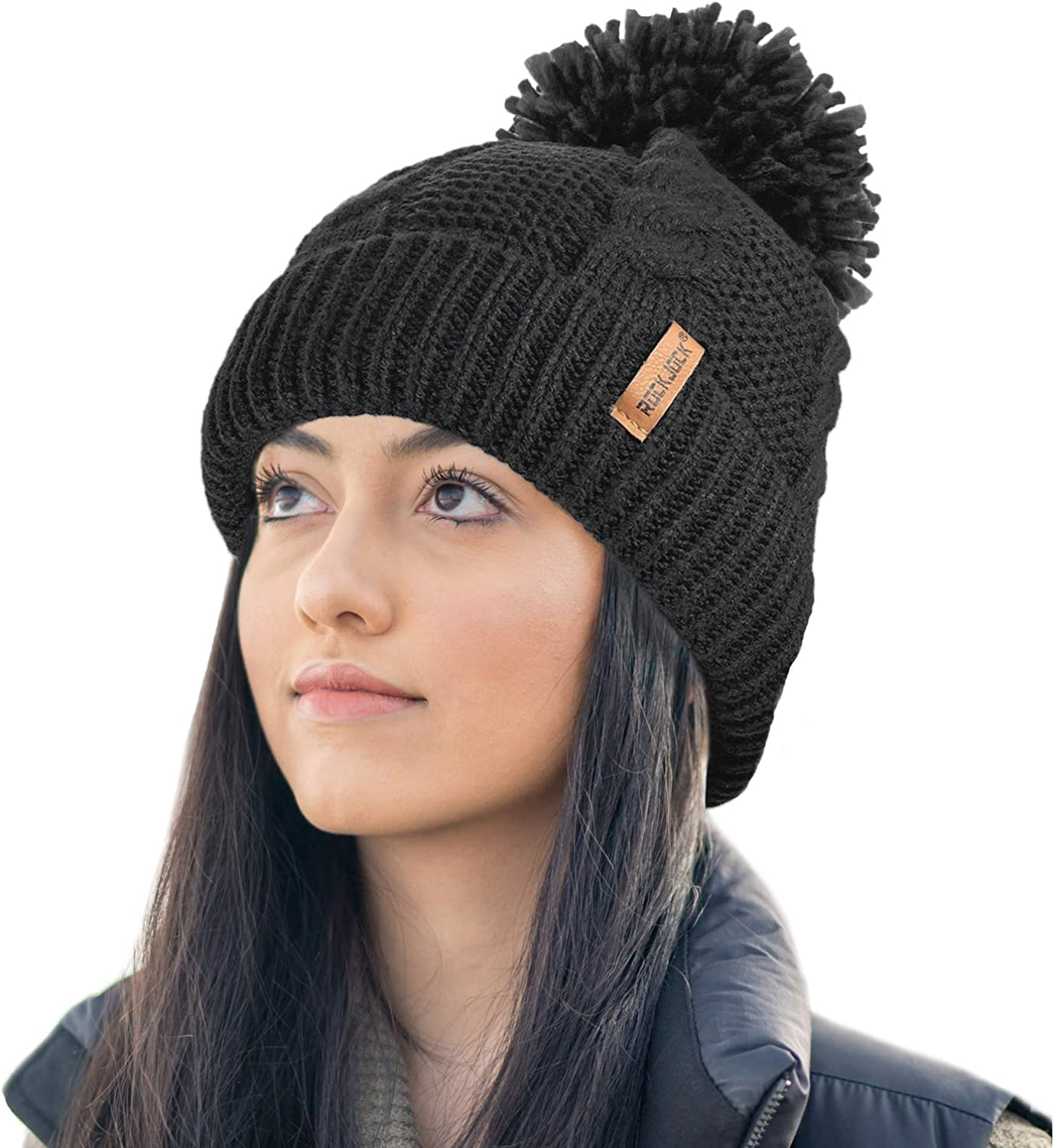 RockJock Ladies STORMACTIVE 100/% Waterproof Warm Cable Knit winter hat with pompom and thermal cosy liner