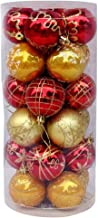 Yansanido 2.36'' 24pcs Assorted Shatterproof Christmas Ball Ornaments Set Decorative Baubles Pendants for Holiday Wedding Party Decoration Xmas Tree (2.36'' 24pcs Red and Gold)