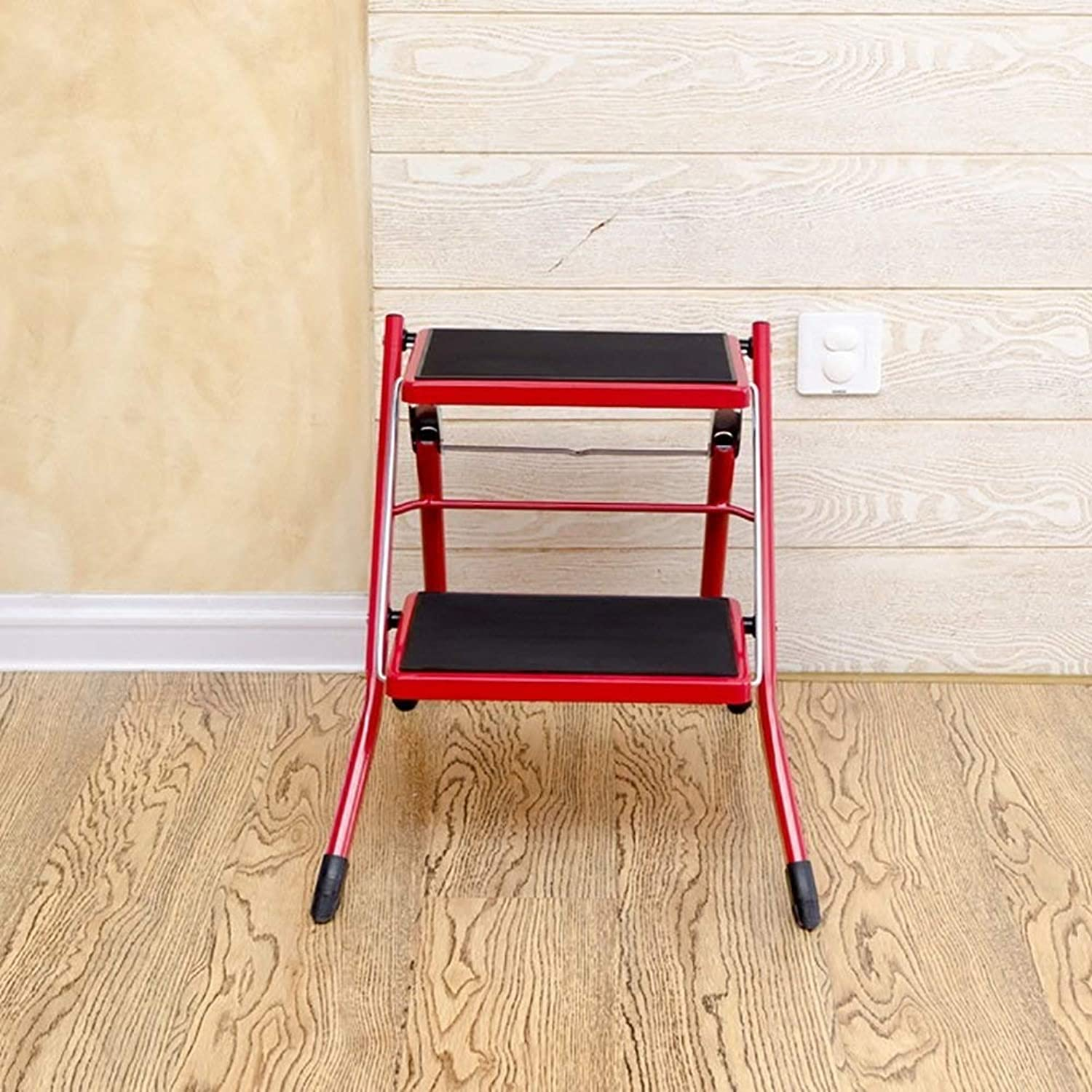 AINIYF Step Stool Stepladders Lightweight Folding Step Ladder With Handgrip Anti-Slip Sturdy And Wide Pedal Steel Ladder Mini-Stool 250lbs 19x16.5x16.3inches (color   Red)