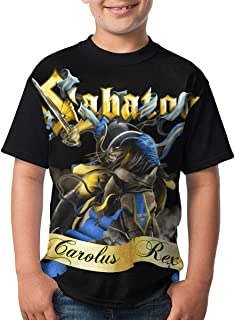 Kmehsv Niño Camisetas de Manga Corta, Sabaton T Shirts Youth Round Neck Shirt Teenager Boys Personality Tees