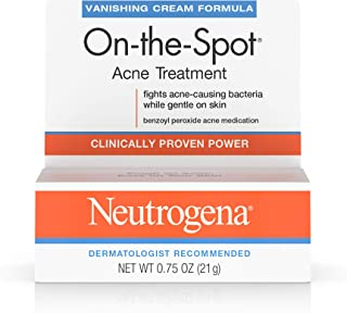 Neutrogena On-The-Spot Acne Spot Treatment with 2.5% Benzoyl Peroxide Acne Treatment Medicine to Treat Face Acne, Gentle Benzoyl Peroxide Pimple Gel for Acne Prone Skin, .75 oz