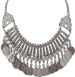 Aheli Statement Necklace Silver Tone Oxidized Coins Tassel Indian Boho Bohemian Bollywood Jewelry Women