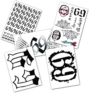 DaLin 5 Sheets Tekashi 6ix9ine Temporary Tattoos Full Body Bundle Real To Life Fake Tattoos for Halloween Costume Accessories and Parties