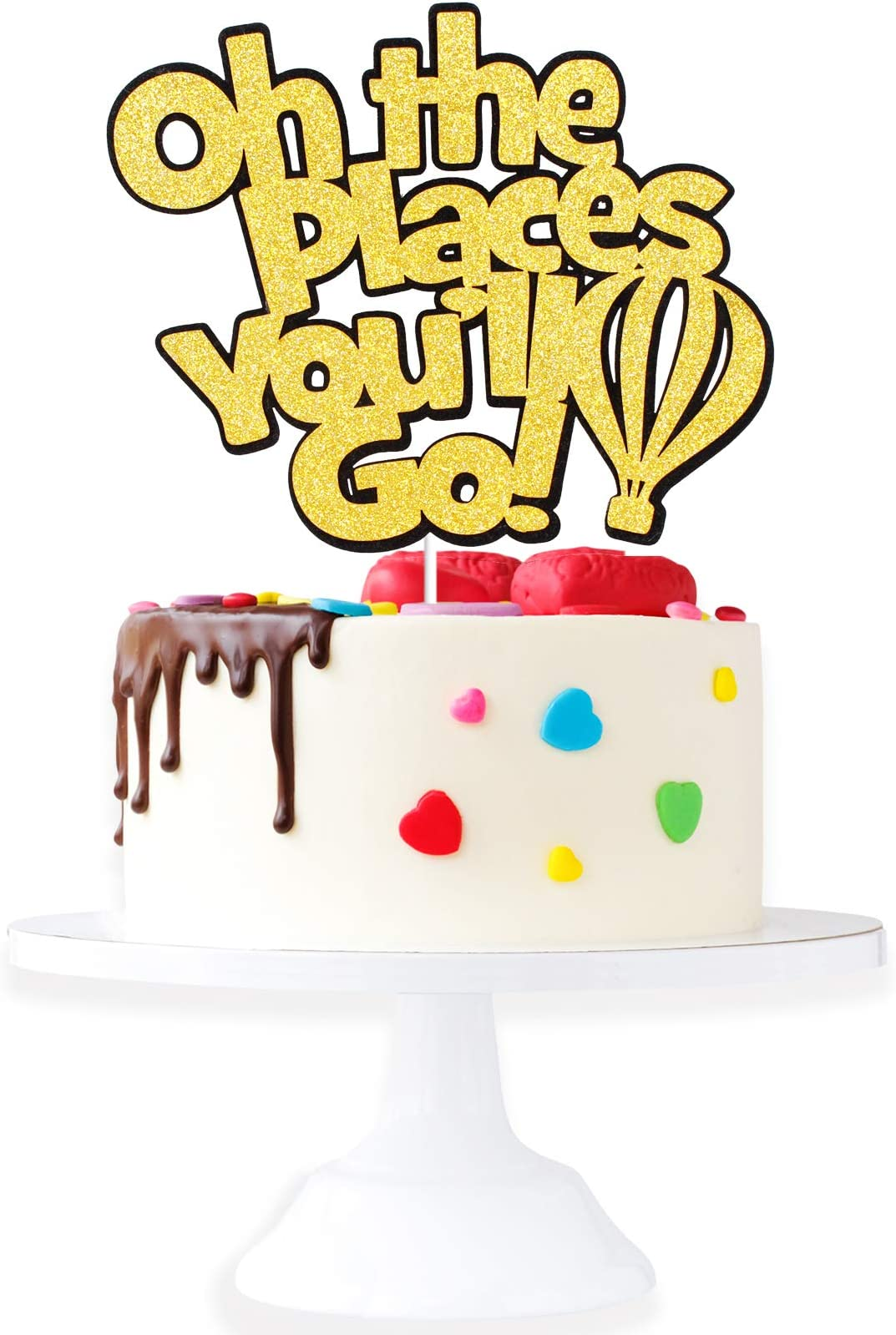 Cake Topper Adventure Awaits Bridal Shower Oh The Places You/'ll Go Cake Topper Baby Shower 6 inches Birthday Cake Topper Graduation