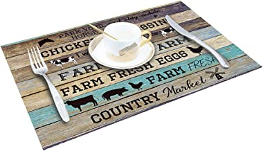 SUN-Shine Placemats Set of 6, Funny Farm Life Animal Quotes Placemat for Dining Table Decorations, Heat-Resistant Washable Ta