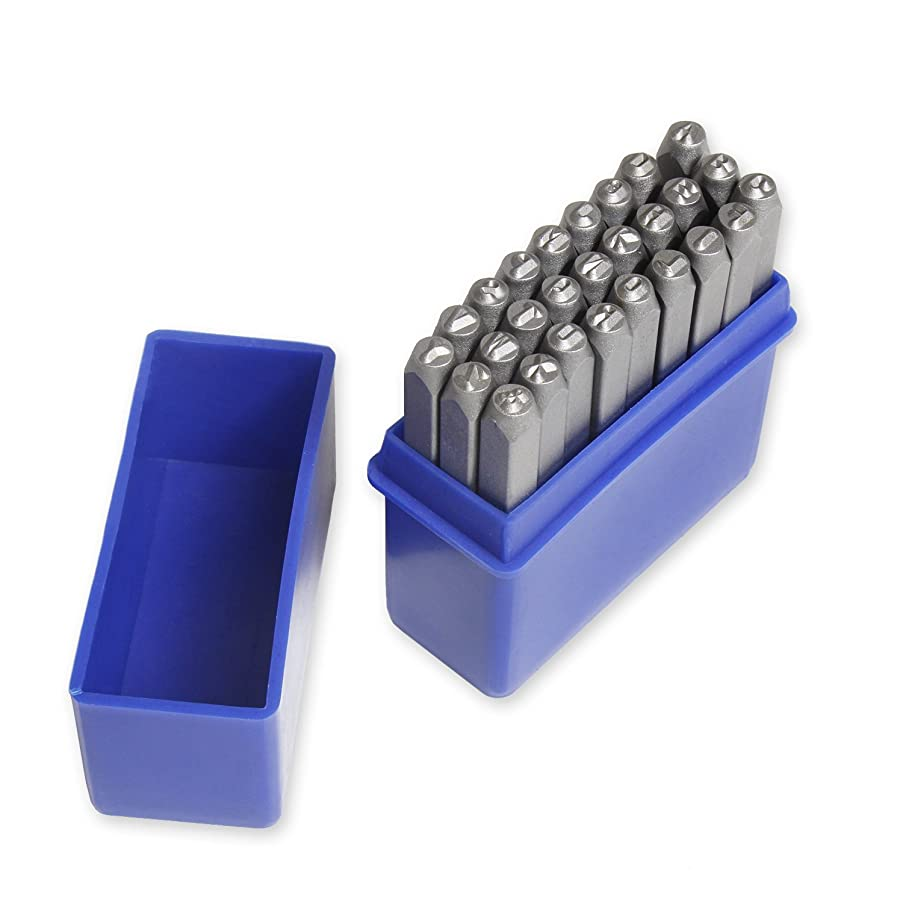 Alphabet Letter Stamp Set - 27-Piece Letter Punch Set, A to Z and Steel Stamp for Leather Making, Jewelry Making, DIY Art Projects, 0.188 x 0.188 x 2.375 Inches