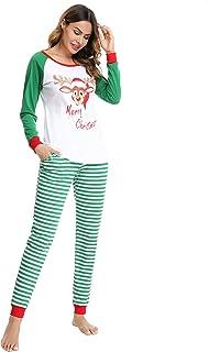 Pijamas de Navidad Familia Manga Larga Pijamas 2 Piezas Ropa de Dormir Pantalon de Rayas y Top de Reno Pijamas para Mujer Hombre Niños Niñas