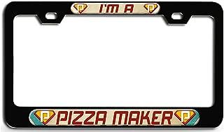 Makoroni - I'm A Pizza Maker Career Black Steel License Plate Frame 3D Style, License Tag Holder