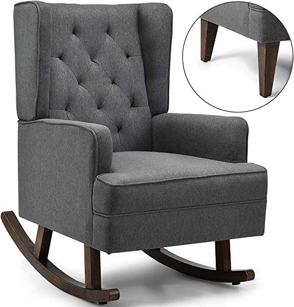 Giantex Nursery Rocking Chair Modern High Back Fabric Armchair Comfortable Relax Rocking Chair Leisure Chair Relax Chair Covered W 2 Forms Chair Feet Easy Assembly And Concise Style Gray