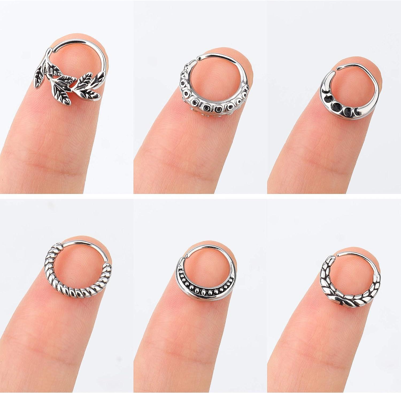 BodyBonita 6pcs Stainless Steel 20G Nose Rings Hoop Cartilage Earrings Helix Tragus Daith Piercing 9mm Septum Rings Body Piercing Jewelry for Women Men