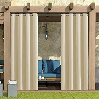Waterproof Indoor Outdoor Curtains for Patio Porch Gazebo Garden Rustproof Privacy Home Curtains Drape Grommet Top Curtain...