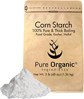 Corn Starch (3 lb.) by Pure Organic Ingredients, Thickener For Sauces, Soup, Gravy, Highest Quality, Kosher, USP & Food Grade, Vegan, Gluten-Free, Eco-Friendly (Also in 4 oz, 8 oz, 1 lb, 2 lb)