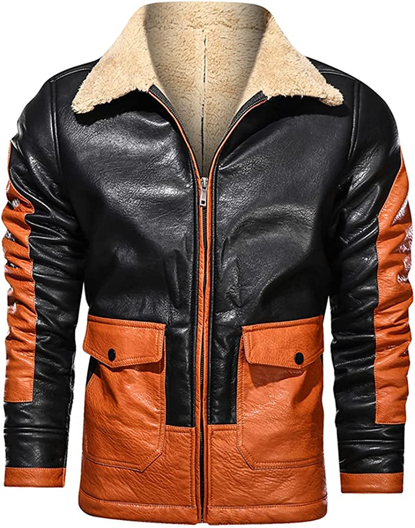Leather Jacket Men Winter Fleece Wool Liner Pu Jackets Coats Contrast Color Pocket Cargo Jacket