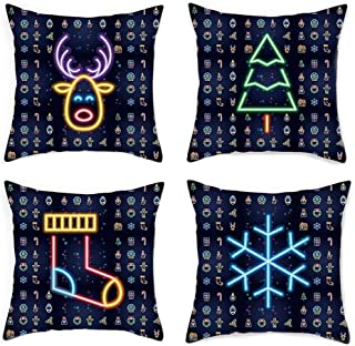 Xmas Pattern Pillowcase, 18X18 Inch 4 Pack, Tree Deer Socks Snowflakes with Different Neon Effect Decorative Patterns, Suitable for Sofas, Cars, Bedrooms, Living Rooms, Hotels.