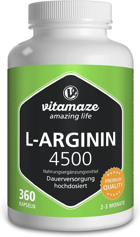 Vitamaze® L-Arginina 4500 mg Altamente Concentrada, 360 Cápsulas, Adecuado para las Personas Alérgicas, Pura Natural L-Arginine HCL sin Aditivos Innecesarios, Calidad Alemana