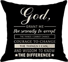 NIDITW Godmother Present with Scripture God Grant Me The Serenity to Accept The Things I Cannot Change Black Burlap Sofa Decorative Throw Pillow Cover Cushion Shell Square 18x18 Inch