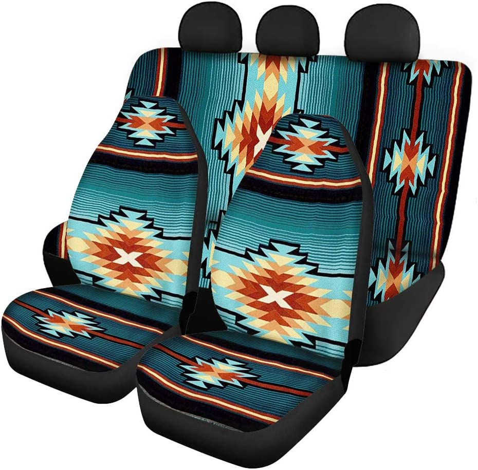 JOAIFO Music Note Piano Car Seat Covers for Front and Rear Seat,Black White4 Pack Vehicle Interior Washable Sedan Interior Seat Protector Full Set