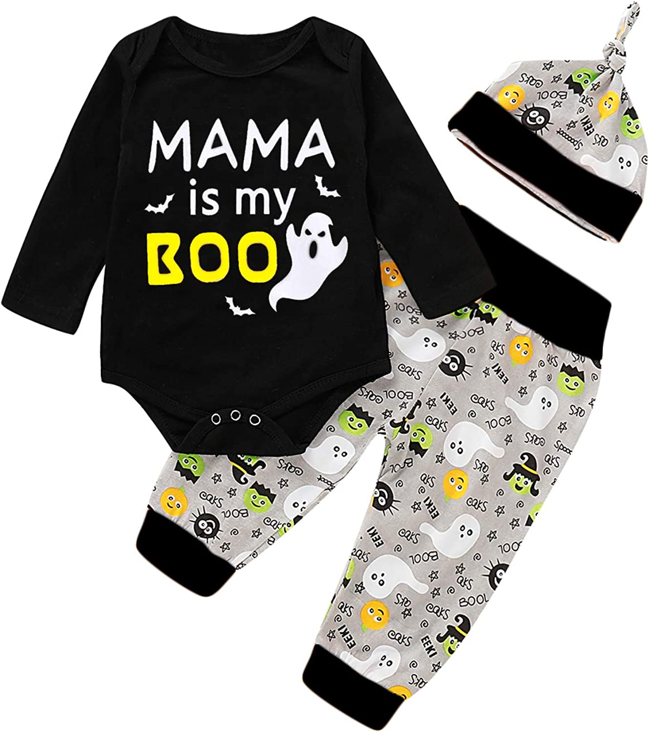 Baby Boy Girls Halloween Outfit Set Funny Mama is My Boo Bodysuit Ghost Pant Set
