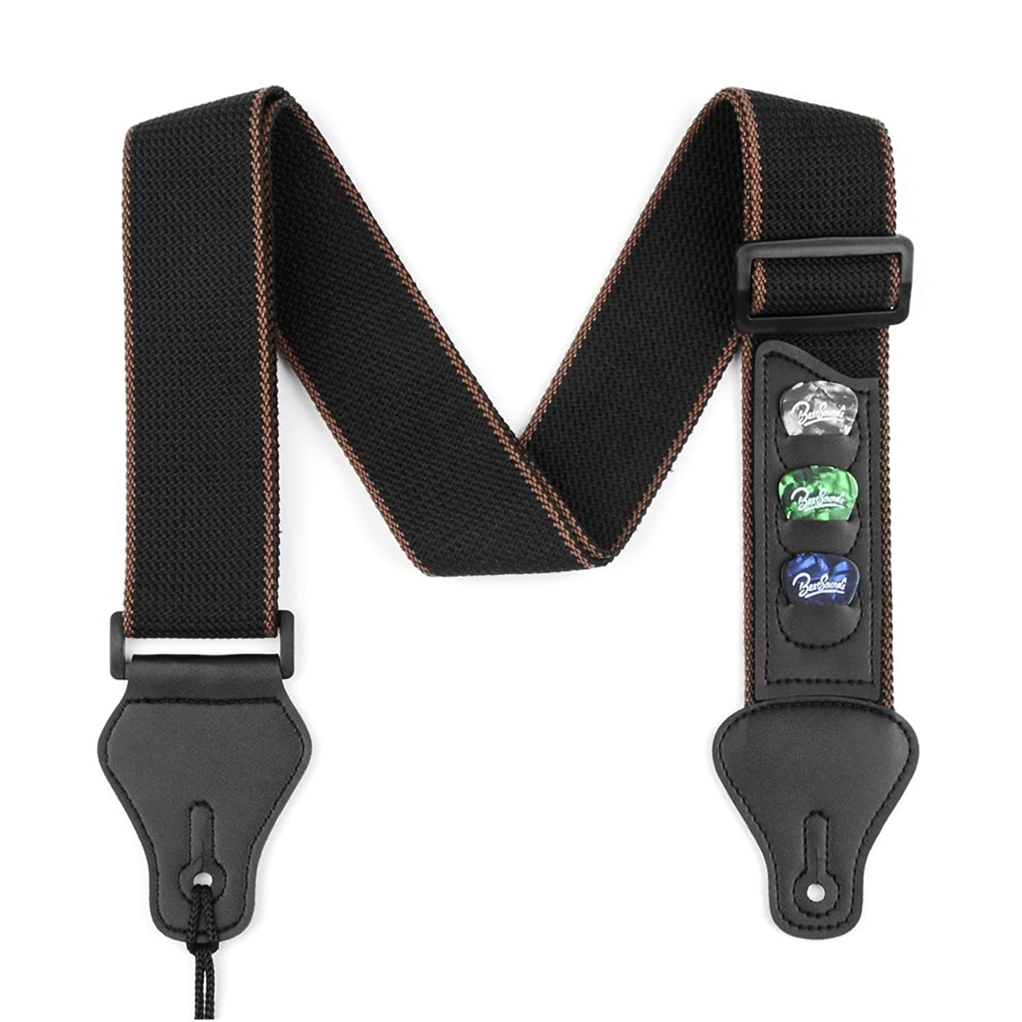 BestSounds Guitar Strap with 3 Pick Holders 100% Soft Cotton Strap For Bass Electric & Acoustic Guitars (Black)