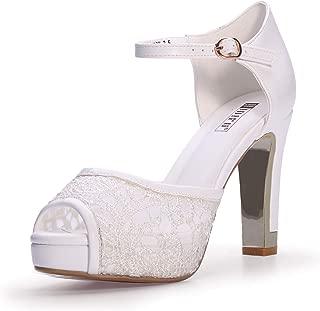 IDIFU Women's IN4 Mary Peep Toe Lace Wedding Shoes Buckle Ankle Strap High Chunky Heel Platform Heeled Sandals