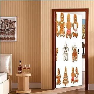 Gingerbread Man Door Decal Door Stickers Decor Door Mural Vivid Cute Christmas Gingerbread Biscuits Set Snowflake House Tree Bedroom Wallpaper Home Decor Light Brown White 32