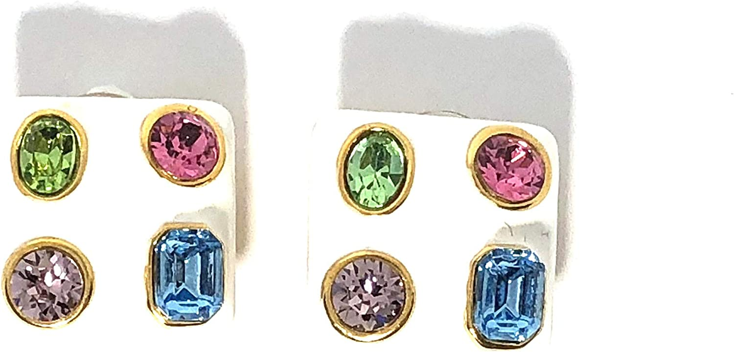 KENNETH JAY LANE, ENAMEL SQUARE CLIP EARRINGS WITH MULTI COLORED CRYSTALS, CHOOSE: WHITE, BLACK, OR CORAL