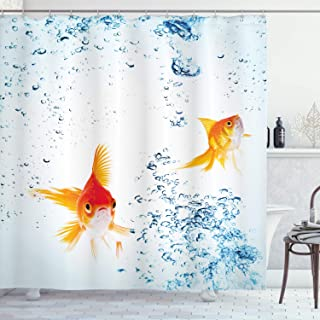 Ambesonne Aquarium Shower Curtain by, Under the Aquarium Theme Cute Swimming Goldfishes with Vivid Bubbles Image, Fabric Bathroom Decor Set with Hooks, 70 Inches, Blue Orange Yellow
