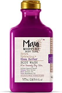 Maui Moisture Shea Butter Body Wash 19.5 Ounce Moisturizing Body Wash Formulated for Dry Skin Normal Skin Combination Skin, with Aloe Vera Juice and Coconut Water, Silicone Free (18220)