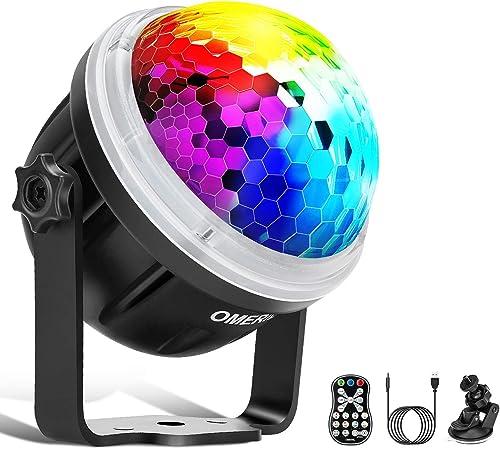 Disco Ball, OMERIL Boule Disco LED Lumière Disco avec Motif Enétoile, 10 Couleurs RGBY Boule à Facette Contrôlée par ...