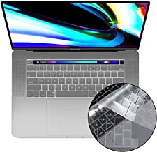 Ultra Thin Keyboard Cover Skin for New MacBook Pro 16 inch 2019/20 Release with Touch Bar and Touch ID (US Keyboard Layout Only)(Transparent)