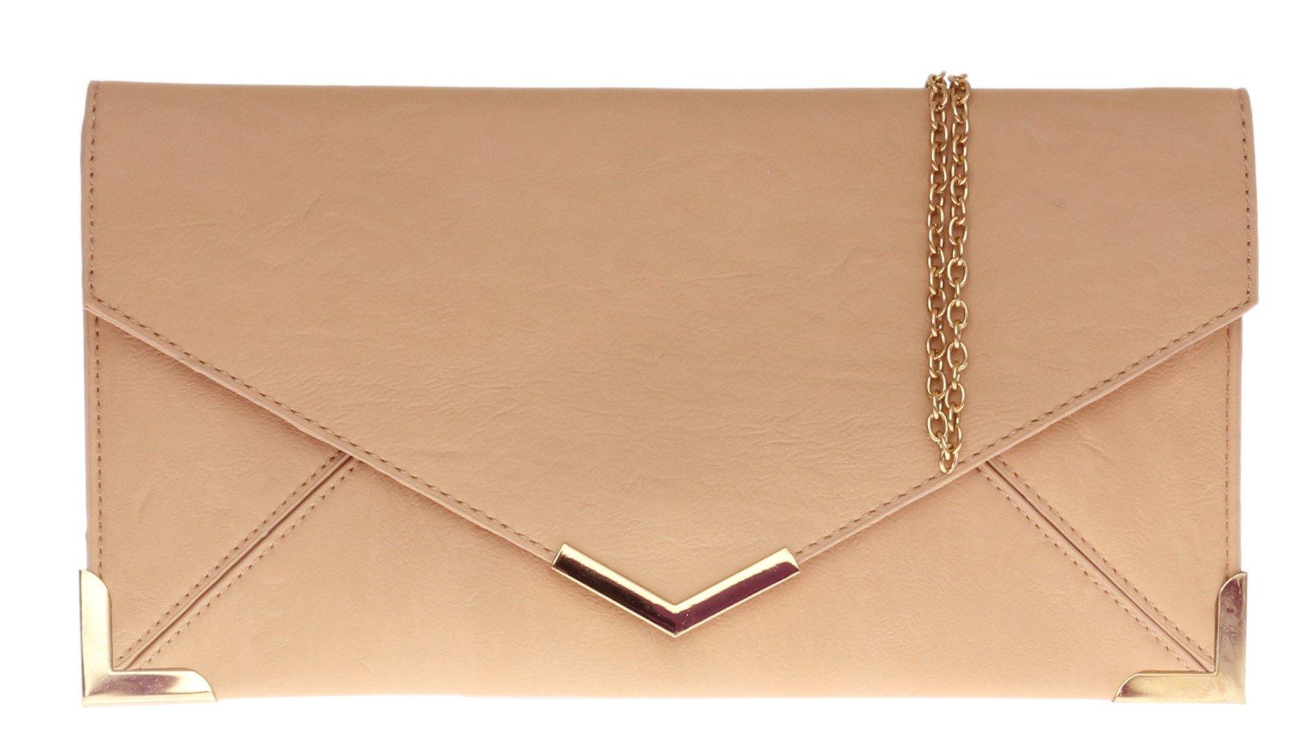 Girly HandBags New Neon Nude Ladies Clutch Bag Vintage Envelope Gold Trim Flat Small Summer