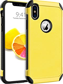 BENTOBEN iPhone X Case, iPhone Xs Case Slim Shockproof 2 in 1 Faux Leather Hard PC Soft TPU Bumper Dual Layer Hybrid Anti-Slip Grip Protective Phone Cases Cover for iPhone X/iPhone Xs, Yellow/Black