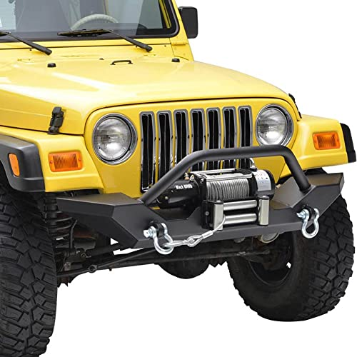 2021 Mallofusa For 87-06 Jeep Wrangler TJ/YJ Heavy Duty Rock popular Crawler Front Bumper with 2x high quality D-ring & Winch Plate(Textured Black) online sale