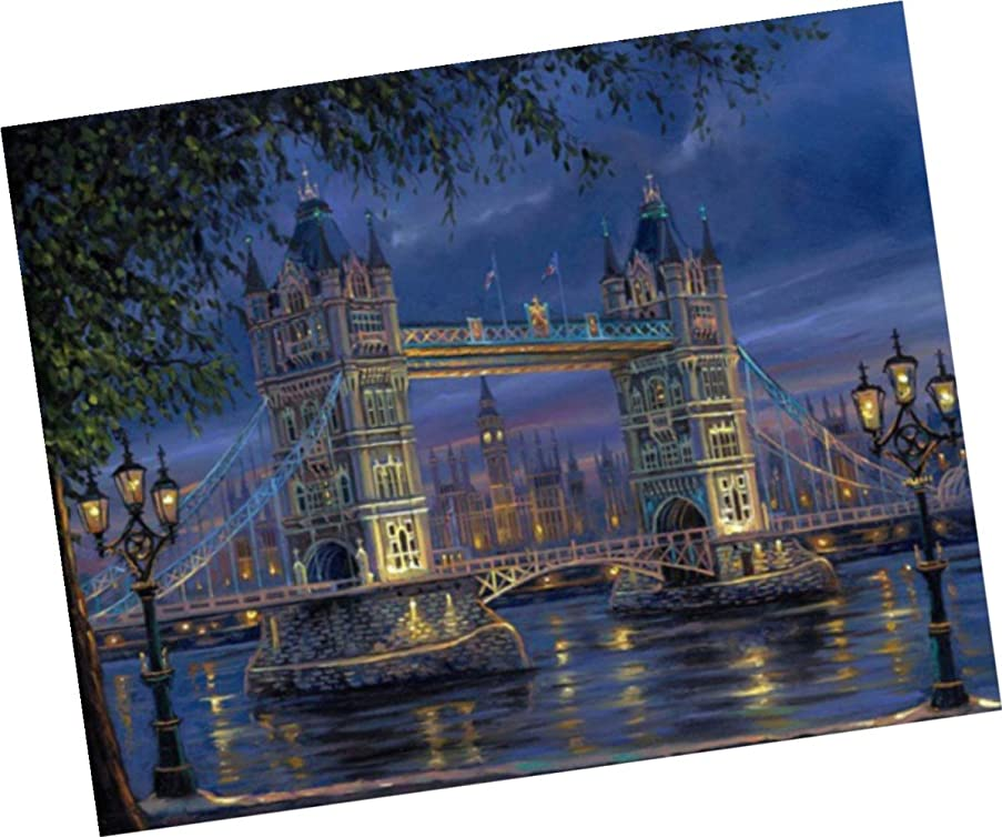 Wowdecor Paint by Numbers Kits for Adults Kids, Number Painting - London Tower Bridge Night 16x20 inch (Framed)