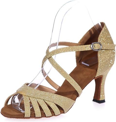 Elobaby zapatos De Baile para mujer BT-963 Ballroom Glitter Satin Jazz Latin High Fashion High Heels (7.5cm Heel)