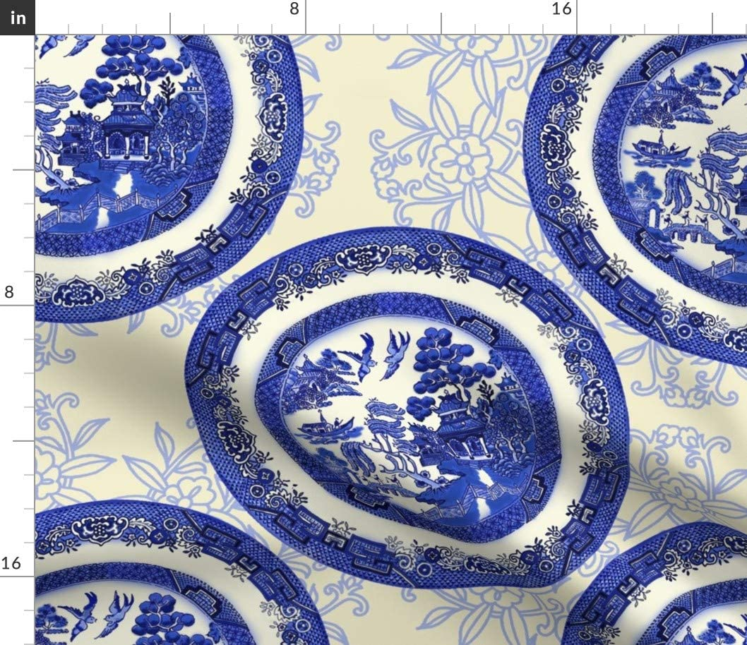 Spoonflower Fabric - Blue 情熱セール Willow 店 Vintage Chinoiserie China Table