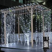 LE Tenda Luminosa 3 x 3 m 306 LED Bianco Diurno, Luci Stringa Cascata per Finestra Imperambile, 8 Modalità di Illuminazione con Funzione Memoria per Decorazioni Festive, Natale, Matrimonio, ecc.