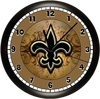 Susie85Electra Saints Fleur De Lis Wood Wall Clock Modern Decorative Non Ticking for Living Room Kids Bedrooms 12 Inch