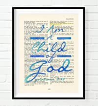 I Am A Child of God, Galatians 3:26, Blue Christian Art Print, Unframed, Vintage Bible Verse Scripture Wall Decor Poster, Inspirational Gift, 8x10 Inches