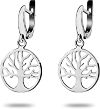 Celtic Family Tree of Life Small Dangle Earrings Rhodium-plated Sterling Silver 925 Viking Yggdrasil Norse Buddhist Jewelry Gift for Women Girls Yoga Lovers/Handmade /14 mm