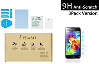iFlash 3 Pack of Premium Tempered Glass Screen Protector For Samsung Galaxy S5 MINI / G800F - Transparent Crystal Clear / 2.5D Rounded Edges / 9H Hardness / Scratch Proof / Bubble Free / Oleophobic Coating / 0.3mm Thickness (3Pack, Retail Package) (Note: This screen protector is for Samsung Galaxy S5 Mini Model, NOT the S5 model. S5 and S5 Mini are two different models)