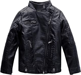Boys' Classic Stand Collar Moto Zipper Faux Leather Jacket