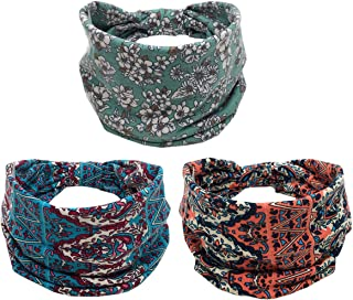 K-Elewon 3 Pack Women Wide Elastic Turban Head Wrap Headband Sports yoga Hair Band